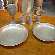 Antique Pewter (goblet and 2 mini tankards)