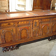 Rare 17th Century Italian Trunk with Marquetry Insets