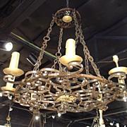 Round Cast Iron Antique Chandelier