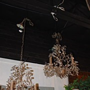 Pair of French Metal Chandeliers with Scrolling Foliate Vinework
