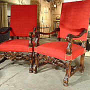 Pair of 19th Century Walnut Wood Armchairs from France