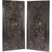 Pair of Large French Antique Door Panels with Louis XVI Trophy Ornamentation