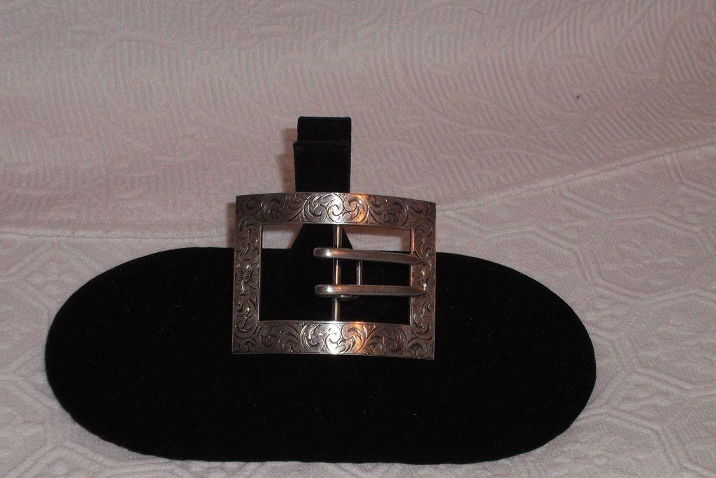 Sterling Silver  Hallmarked Ornate Victorian Ladies Belt Buckle