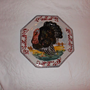 "SOLD Vintage Italian Hand Painted Turkey Plate 10.75"" A hand Painted Beauty!!"