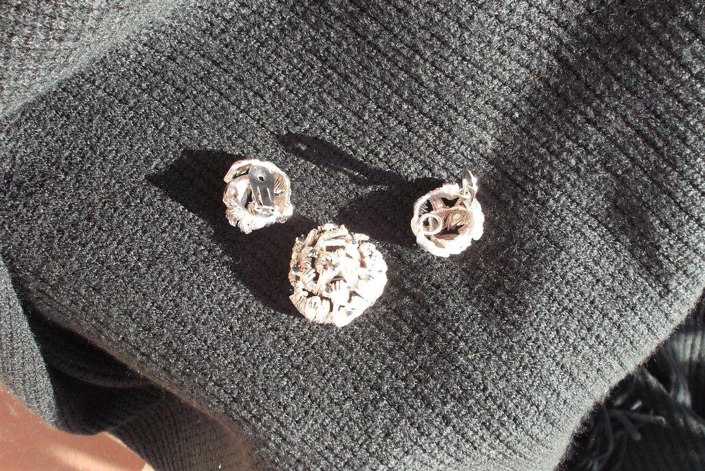 Vintage Pin & Earring Set- Stylized Silvertone w/ Blue Rhinestones