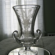 "Tiffin  Etched~""Oneida"" Crystal Vase~Platinum Trim"