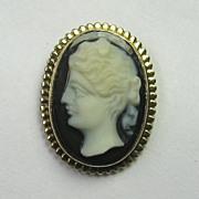 REDUCED Antique Edwardian 10K Gold Hard Stone Layered Onyx Cameo Stick Pin