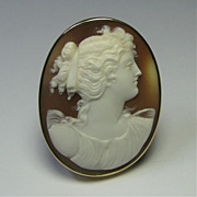 REDUCED Antique Edwardian 14K Gold Shell Goddess Cameo Brooch