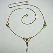 REDUCED Antique Art Nouveau 9CT Gold Turquoise Lavaliere Pendant Necklace