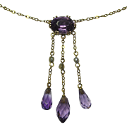 REDUCED Antique Edwardian 10K Gold Amethyst & Seed Pearl Negligee Lavaliere Pendant Necklace