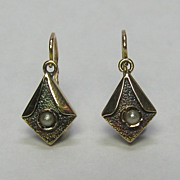 REDUCED Antique Edwardian 14K Gold Seed Pearl Dormeuse Earrings