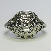 REDUCED Antique Art Deco 18K White Gold Filigree Diamond Solitaire Engagement Ring