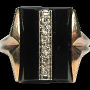 REDUCED Vintage Art Deco 14K Gold Diamond & Onyx Dinner Ring