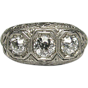 REDUCED Antique Edwardian Platinum 3 Diamond Filigree Ring
