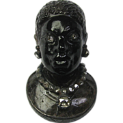 REDUCED Antique Georgian 18K Gold & Silver Carved Agate Blackamoor Stick Pin