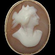 REDUCED Antique Edwardian 14K Gold Goddess Diana Cameo Stick Pin