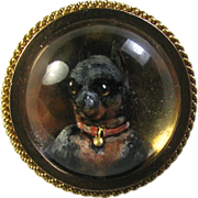 REDUCED Antique Victorian 18K Gold Miniature Doberman Pincher Essex Crystal Stick Pin