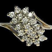 REDUCED Vintage Estate 14K Gold Diamond Waterfall Cocktail Ring