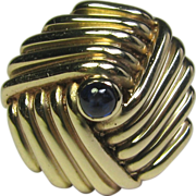 REDUCED Vintage Retro 14K Gold Sapphire Domed Dinner Ring