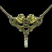 REDUCED Antique Art Nouveau 14K & 9CT Gold Lavaliere Pendant Necklace