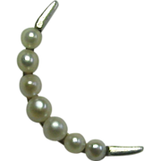 REDUCED Antique Edwardian 14K Gold & Platinum Seed Pearl Crescent Moon Stick Pin