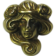 Antique Art Nouveau 14K Gold Link & Angell Mucha Maiden Stick Pin