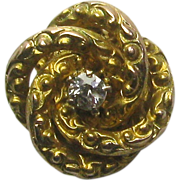 Antique Victorian 10K Gold Diamond Love Knot Stick Pin