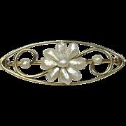 Antique Art Nouveau 14K Gold River Pearl Flower Brooch