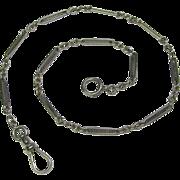 Antique Art Deco 14K White Gold Filigree Watch Chain