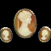 Vintage Art Deco 18K Gold Shell Cameo Renaissance Revival Brooch/Pendant & Earring Set