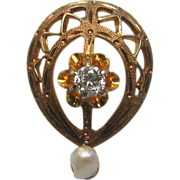 Antique Edwardian 10K Gold Diamond & Seed Pearl Stick Pin