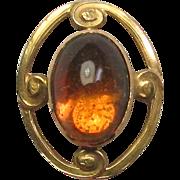 Antique Art Nouveau Alling & Co 14K Gold Citrine Stick Pin