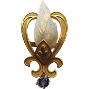 Antique Edwardian 14K Gold Sapphire & River Pearl Stick Pin