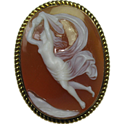 SOLD Antique Victorian 14K Gold Hard Stone Nude Muse Cameo Brooch