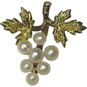 Antique Victorian 10K Gold Grape Bunch Seed Pearl Stick Pin