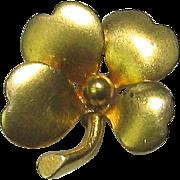 Antique Art Nouveau 14K Gold Lucky Clover Stick Pin