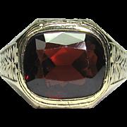 Vintage Art Deco 10K Gold Garnet Men's Man's Ring