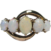 Antique Victorian 10K Rose Gold 5 Stone Opal Ring