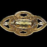 Antique Edwardian 14K Gold Citrine & Seed Pearl Brooch