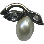 Antique Rose Gold & Silver Pearl & Diamond Fruit Stick Pin