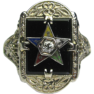 Antique Art Deco 14K White Gold Enamel, Onyx, Diamond Eastern Star Ring