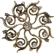 Antique Victorian 14K Gold Diamond Pinwheel Brooch Pendant