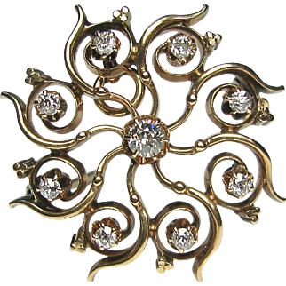 Antique Victorian 14K Gold Diamond Pinwheel Brooch Pendant