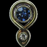 Antique Art Nouveau 14K Gold Diamond & Sapphire Stick Pin