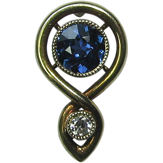 Antique Art Nouveau 14K Gold Diamond & Sapphire Stick Pin