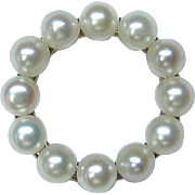 Antique Edwardian 14K Gold Pearl Wreath Circle Stick Pin
