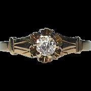 Antique 14K Gold Diamond Solitaire Engagement Ring