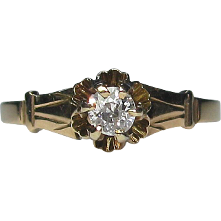 Antique 14K Gold Diamond Solitaire Engagement Ring