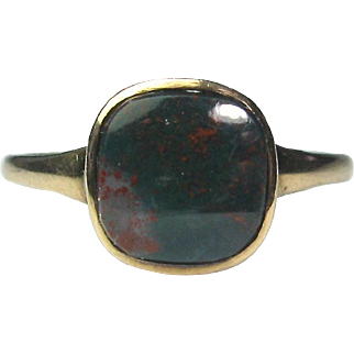 Antique Victorian 10K Gold Jasper Bloodstone Ring