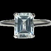 Vintage Platinum Pale Blue Aquamarine Solitaire Ring